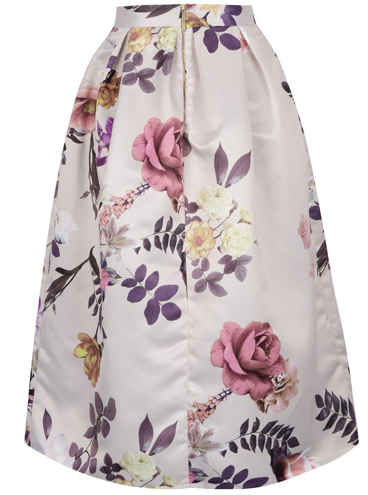 Fusta crem cu imprimeu floral Closet