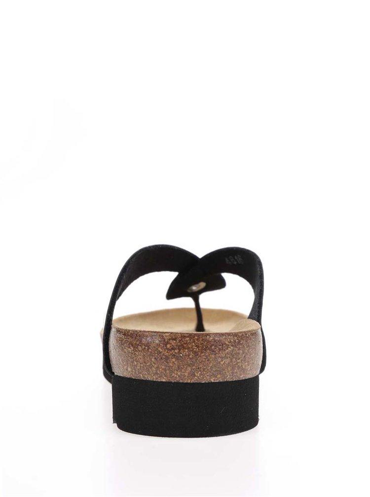 Papuci flip-flop negri Scholl Kenna cu aspect lucios
