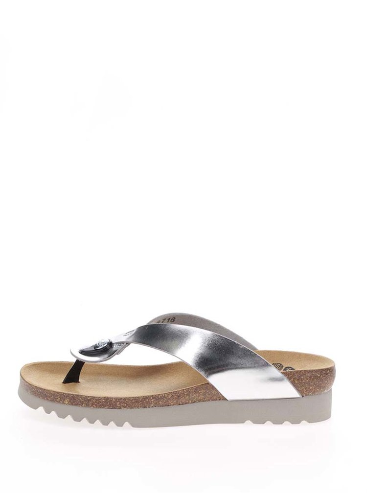 Papuci flip-flop argintii Scholl Kenna cu aspect lucios