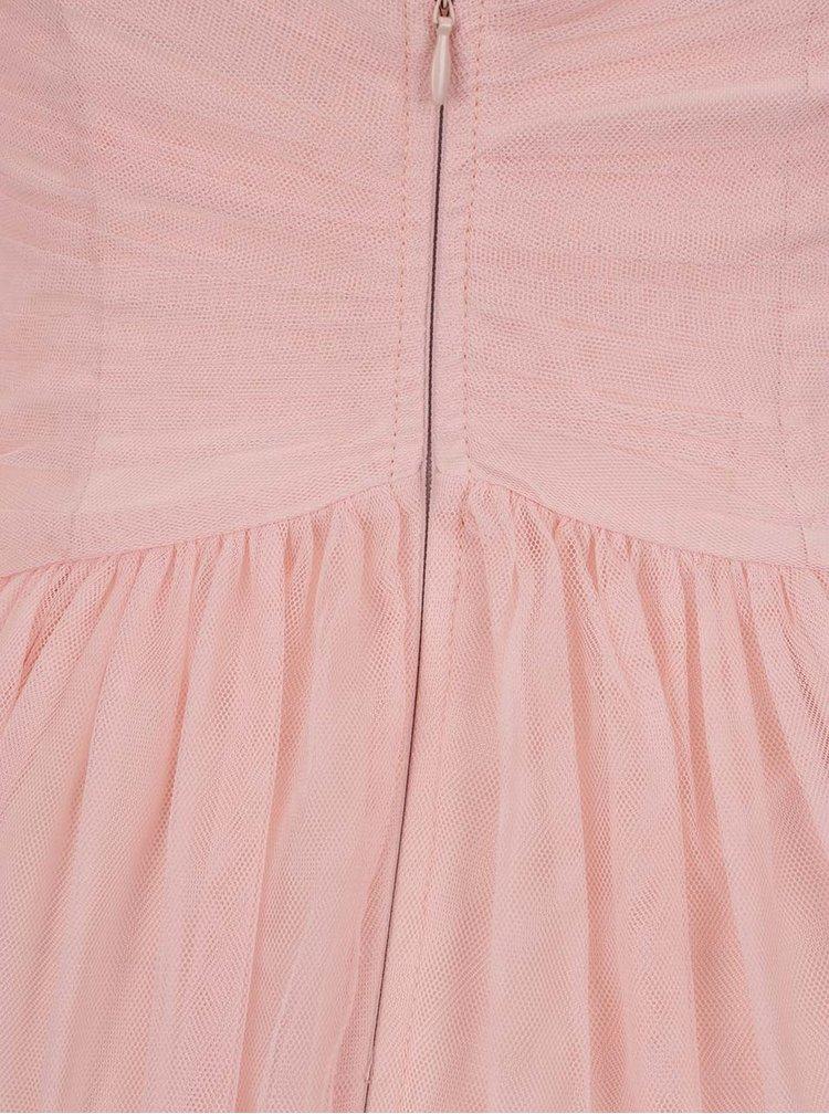 Růžové tylové maxišaty s krajkou a korálky na ramenou Little Mistress