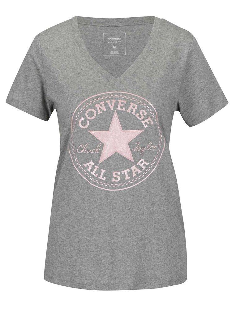 Šedé dámské tričko s růžovým potiskem Converse