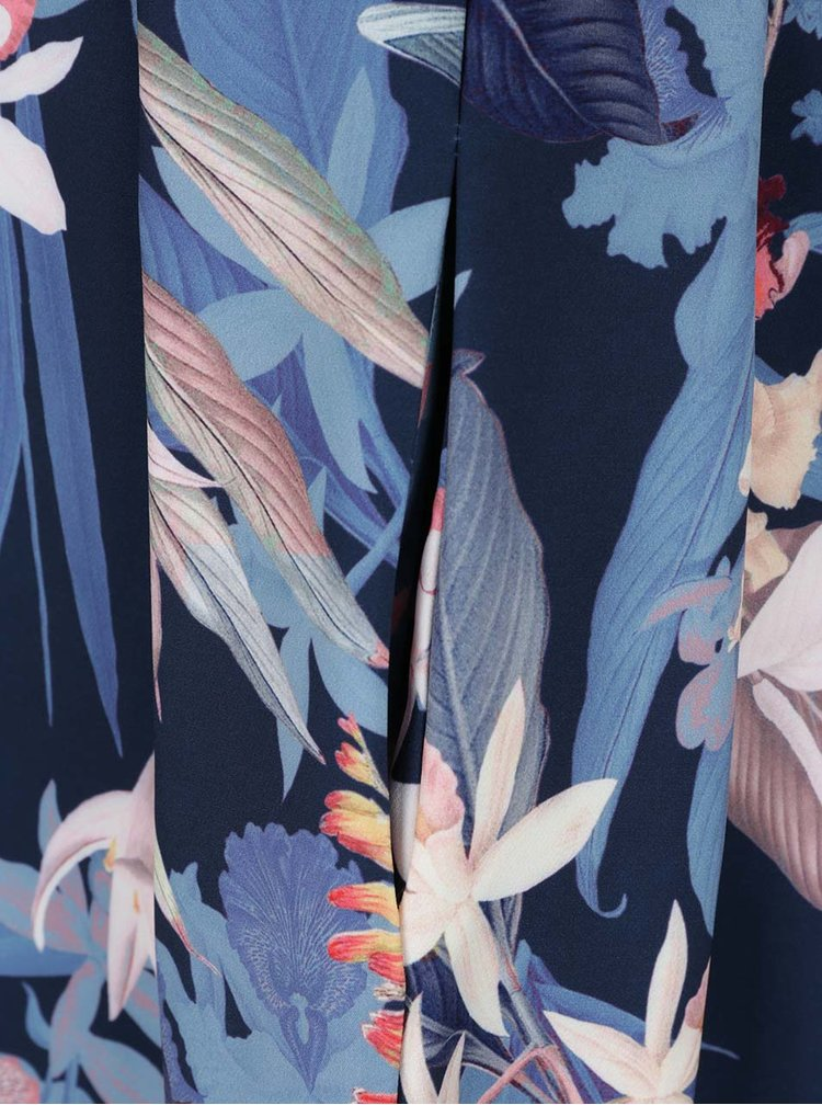 Tmavě modré květované šaty s volánem Closet