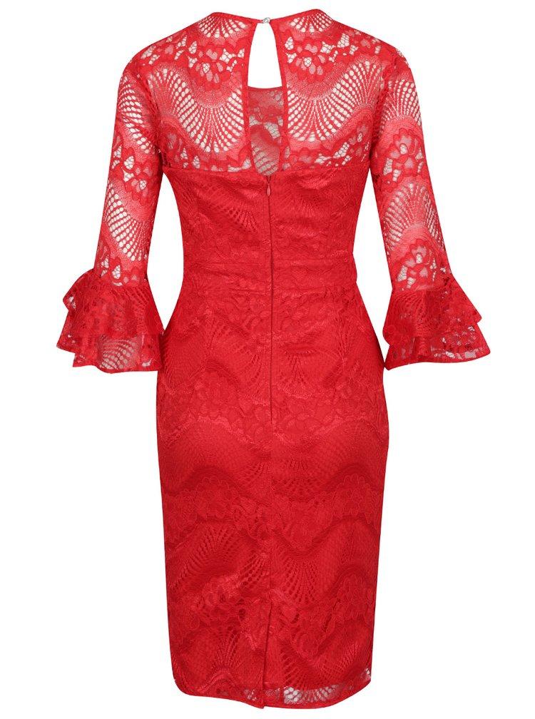 Červené krajkové šaty s volánky na rukávech Little Mistress
