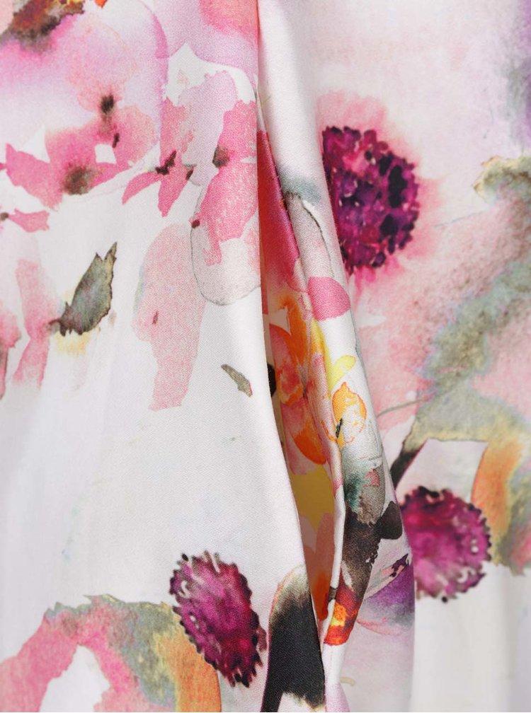 Krémovo-růžové květované šaty s páskem Closet