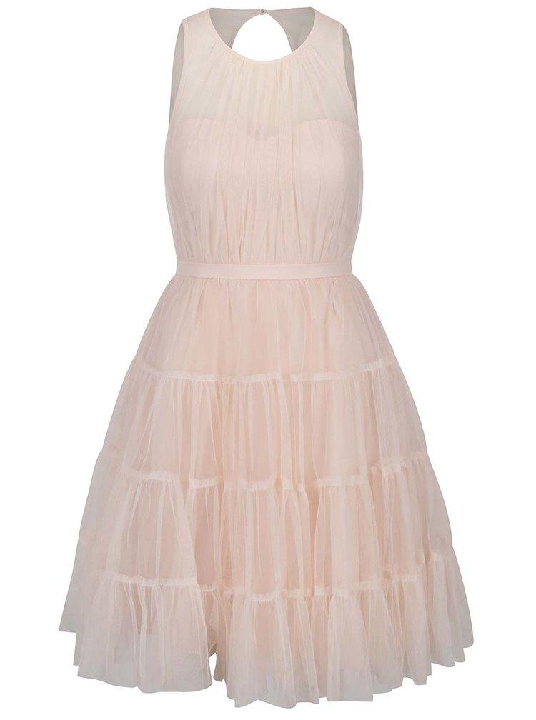 Růžové šaty s průsvitným dekoltem Little Mistress