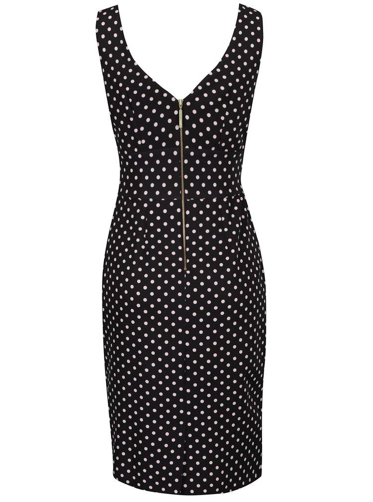 Černé puntíkované pouzdrové šaty s ozdobnými knoflíky Closet