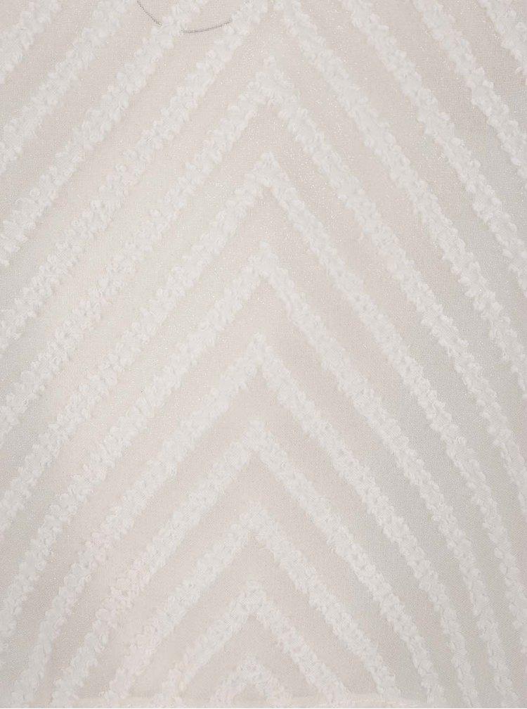Top alb fildeș semitransparent  THAIS & STROE cu detalii în relief