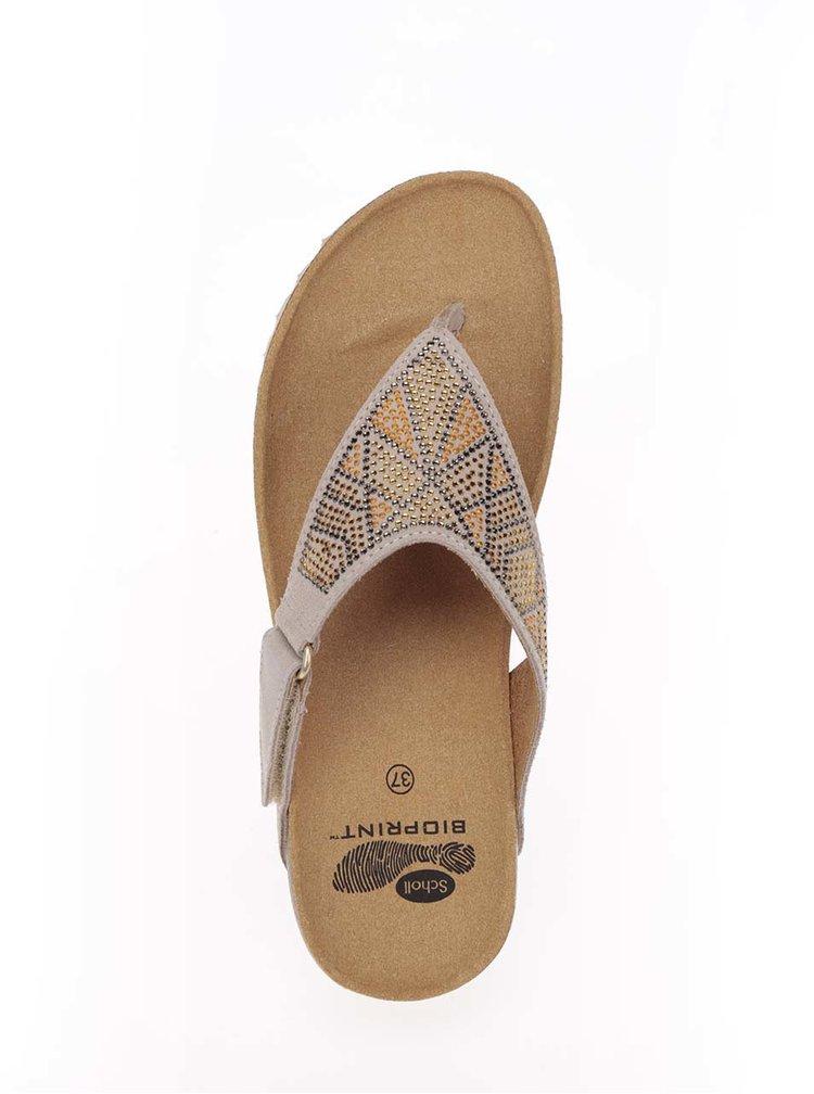 Papuci flip-flop bej Scholl Kimi din piele
