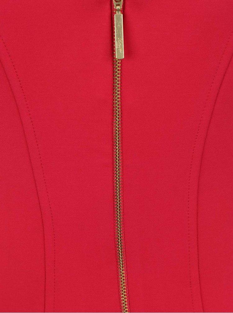 Rochie rosie Closet cu decupaj in V
