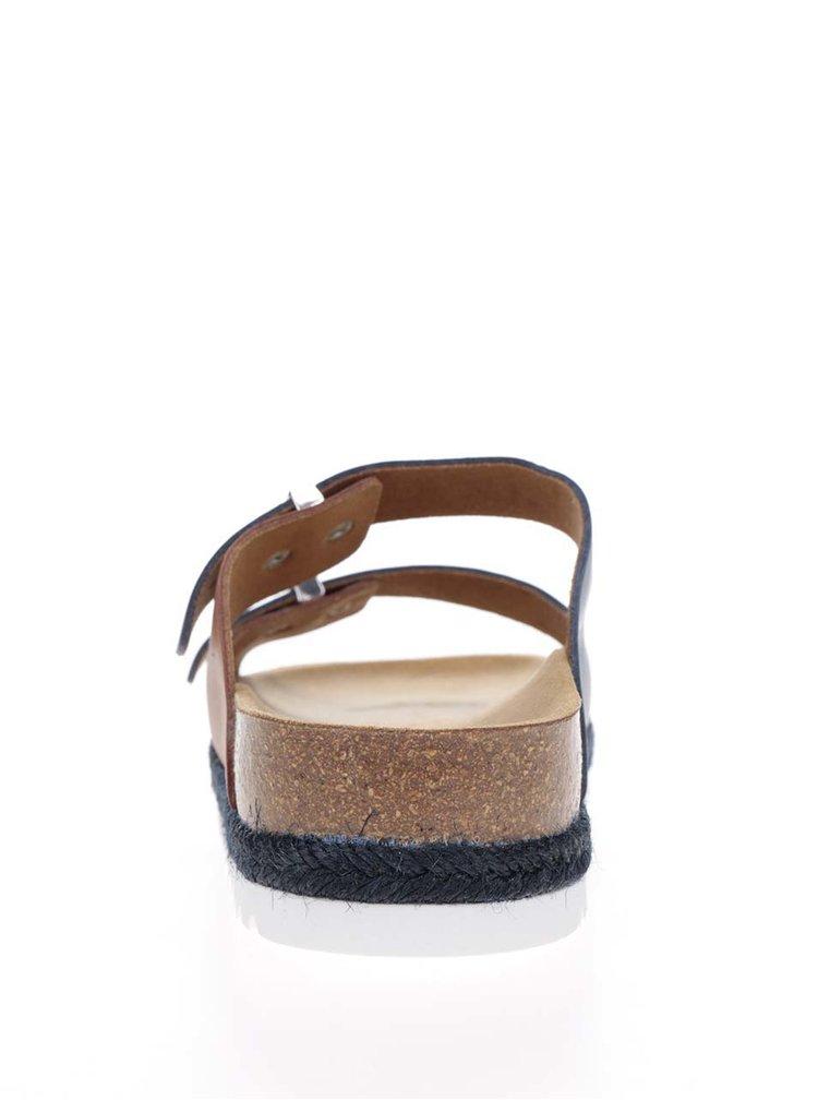 Papuci bleumarin & maro Scholl Olympe din piele