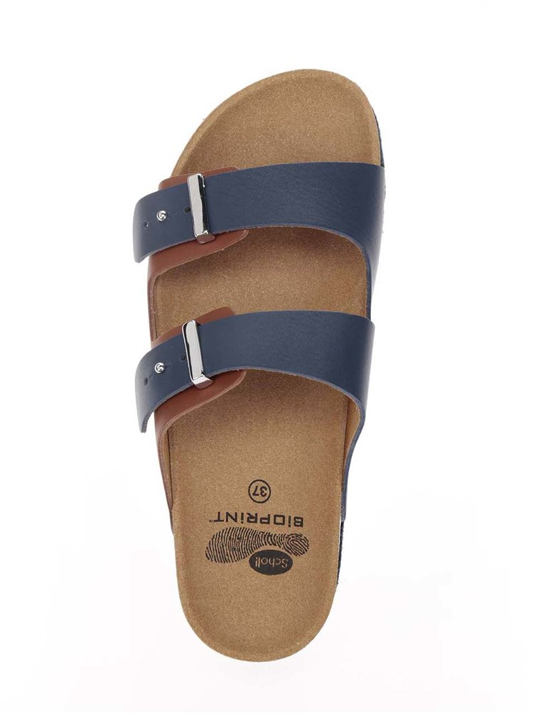 Modro-hnědé dámské kožené pantofle Scholl Olympe
