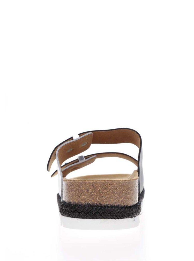 Papuci alb & negru Scholl Olympe din piele