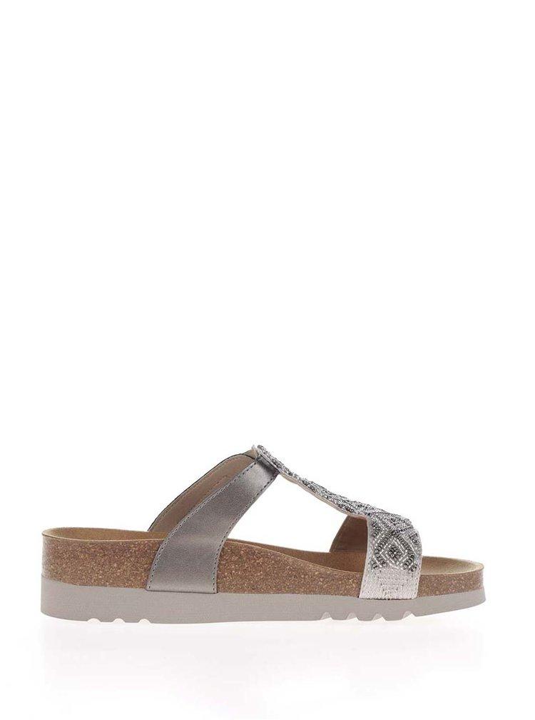 Papuci argintii Scholl Astrelle cu model