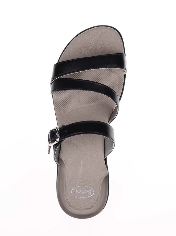 Černé dámské kožené zdravotní pantofle Scholl Elinor