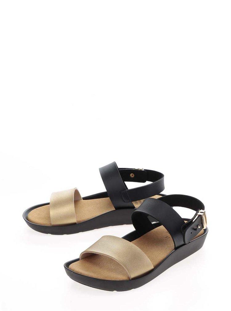 Černé dámské zdravotní sandály s detailem ve zlaté barvě Scholl Mamore