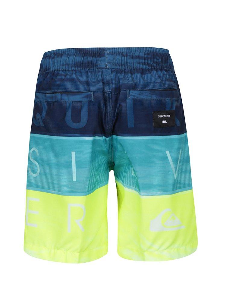 Bermude de baie galben&albastru cu model în dungi Quiksilver Word Waves pentru băieți
