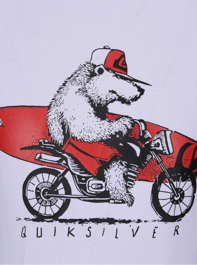 Červeno-bílé klučičí plavkové triko Quiksilver Bear On The Way