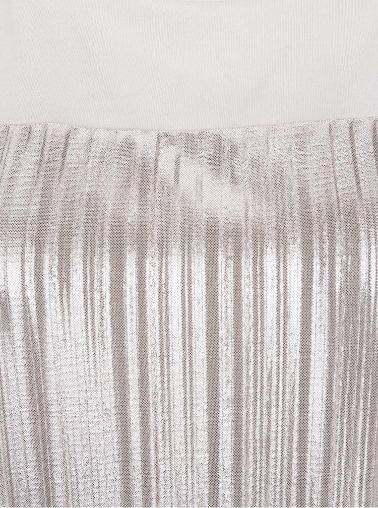Krémové tričko s plisovaným předním dílem VILA Shaky