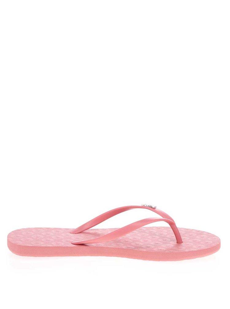 Růžové dámské žabky s plastickým vzorem Roxy Viva