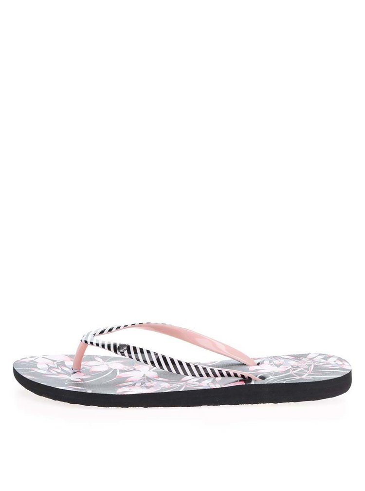Papuci flip-flop negri Roxy Portofino cu model floral si in dungi