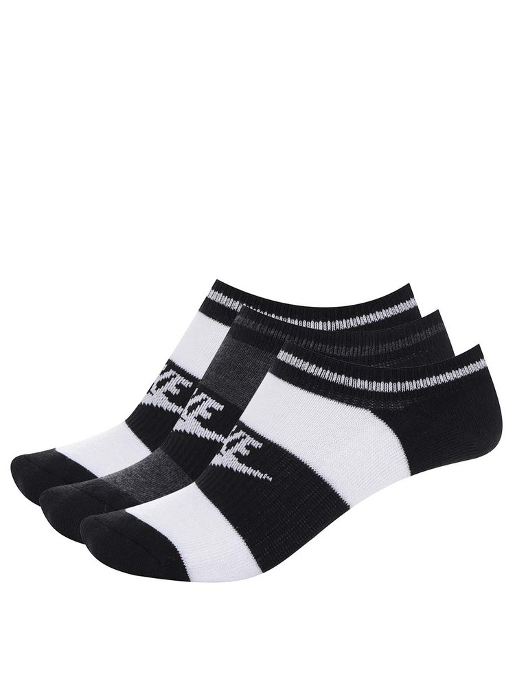 Sada tří párů kotníkových ponožek v černé a bílé barvě Nike No Show