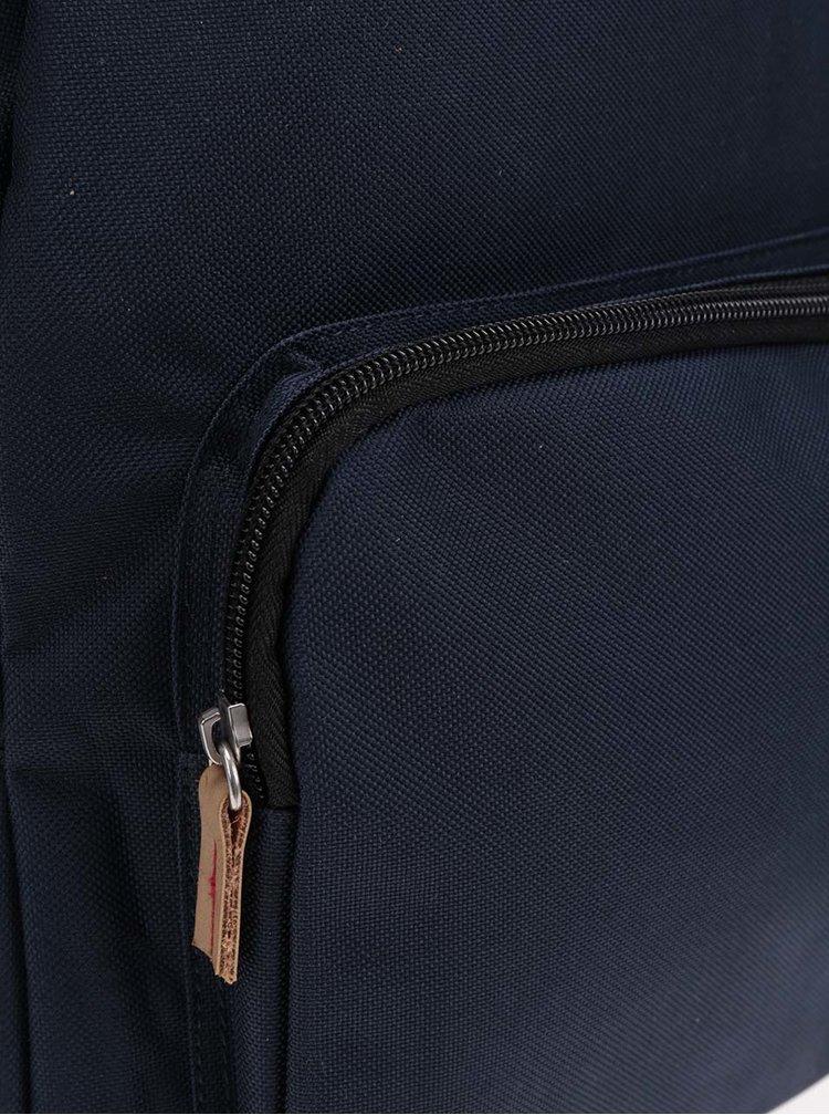 Rucsac albastru inchis unisex The Pack Society 18 l cu detalii maro