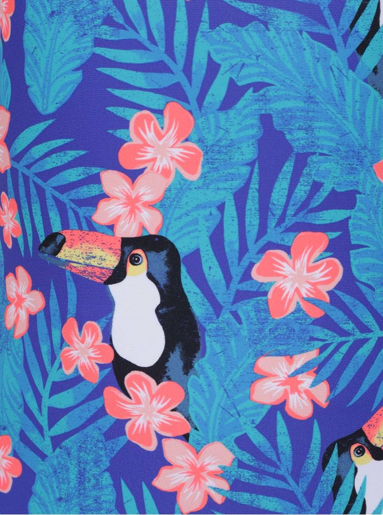 Modré holčičí jednodílné plavky s tropickým vzorem Roxy Little Tro
