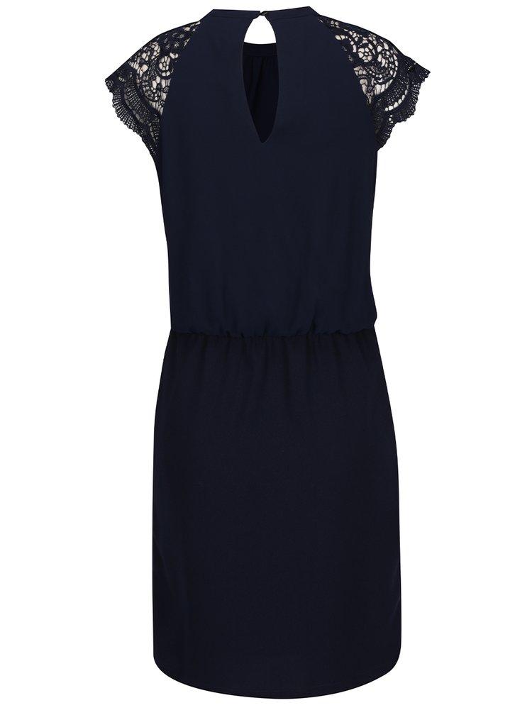 Tmavě modré šaty s krajkovými detaily VERO MODA Shira