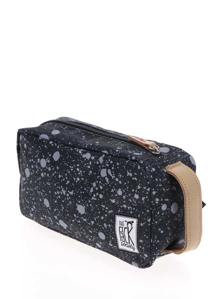 Černá vzorovaná unisex kosmetická taštička The Pack Society
