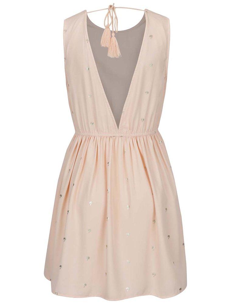 Rochie roz cu print auriu si spate gol - VILA Pana