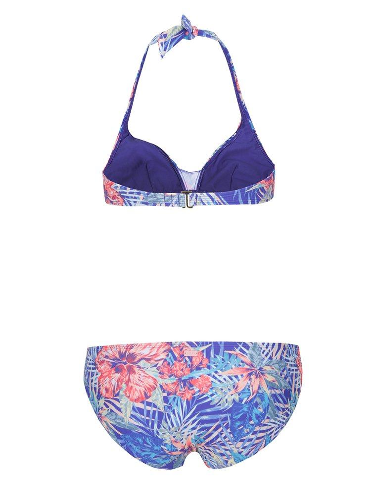 Modré dámské dvoudílné plavky s tropickým vzorem Roxy Mix