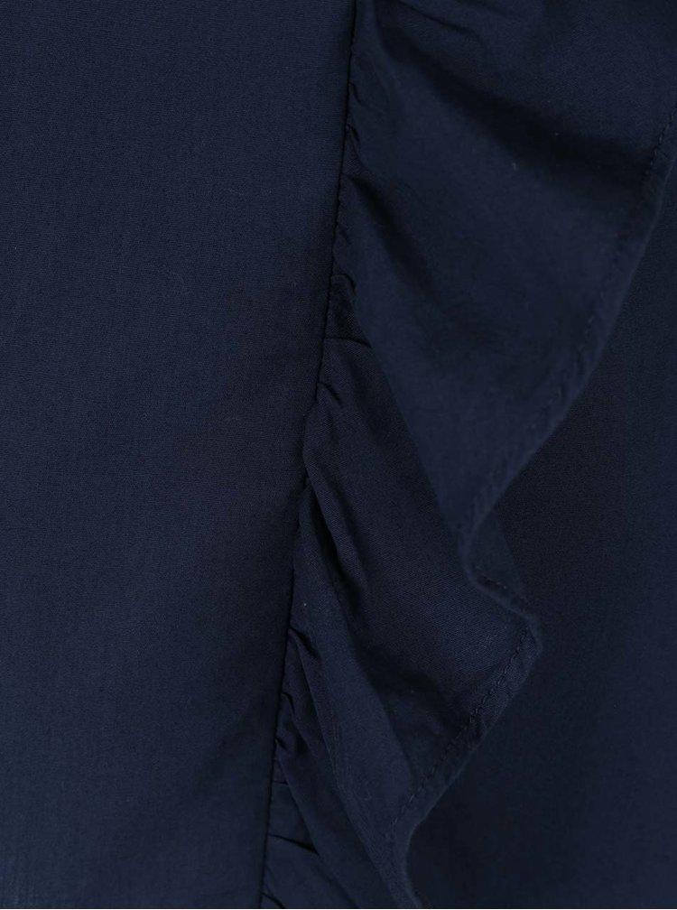 Tmavě modrá halenka s volány VILA Naba