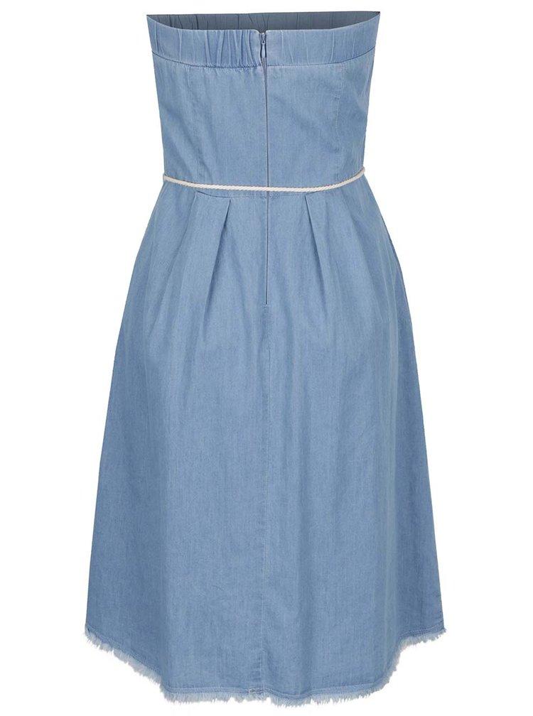Světle modré džínové šaty bez ramínek VILA Abi