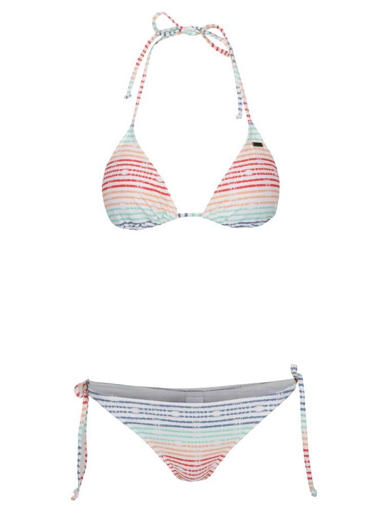 Krémové dámské dvoudílné plavky s barevnými pruhy Roxy Sporty