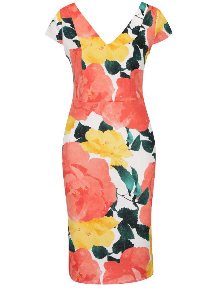 Krémové šaty s květovaným potiskem Dorothy Perkins