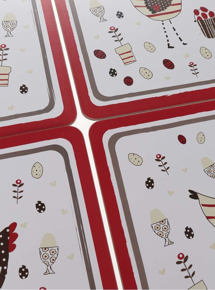 Sada čtyř prostírání v červeno-krémové barvě s motivem slepic Cooksmart
