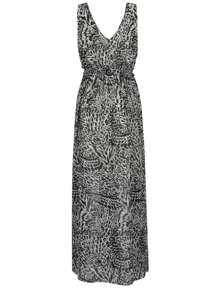 Černo-bílé vzorované maxišaty s překládaným výstřihem VERO MODA Holly