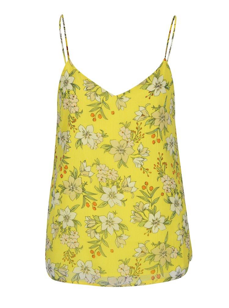 Žlutá květovaná volná halenka s průstřihem na zádech VERO MODA Jenna