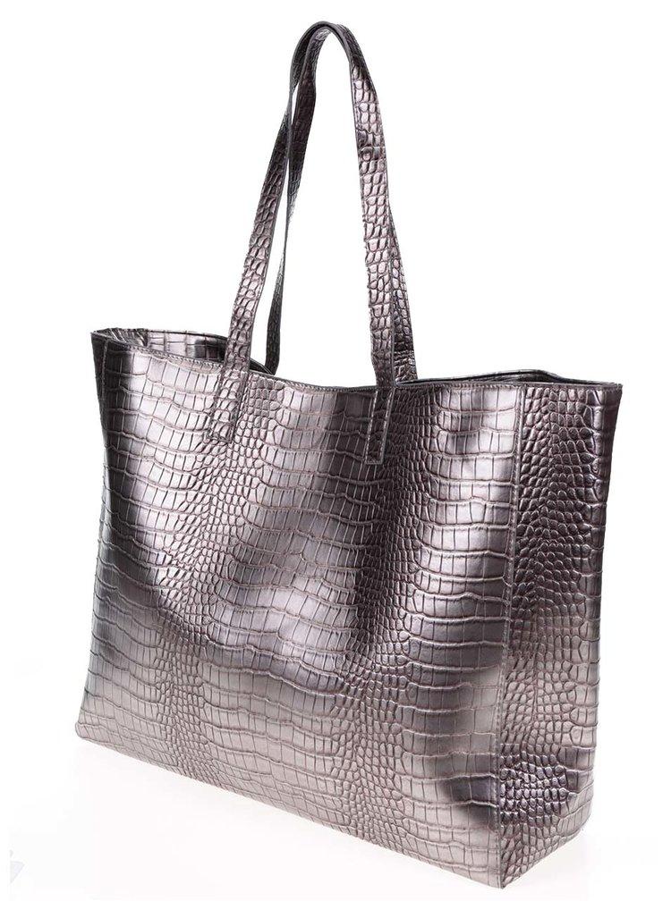 Geantă shopper argintie Pieces Elana cu aspect de piele de șarpe