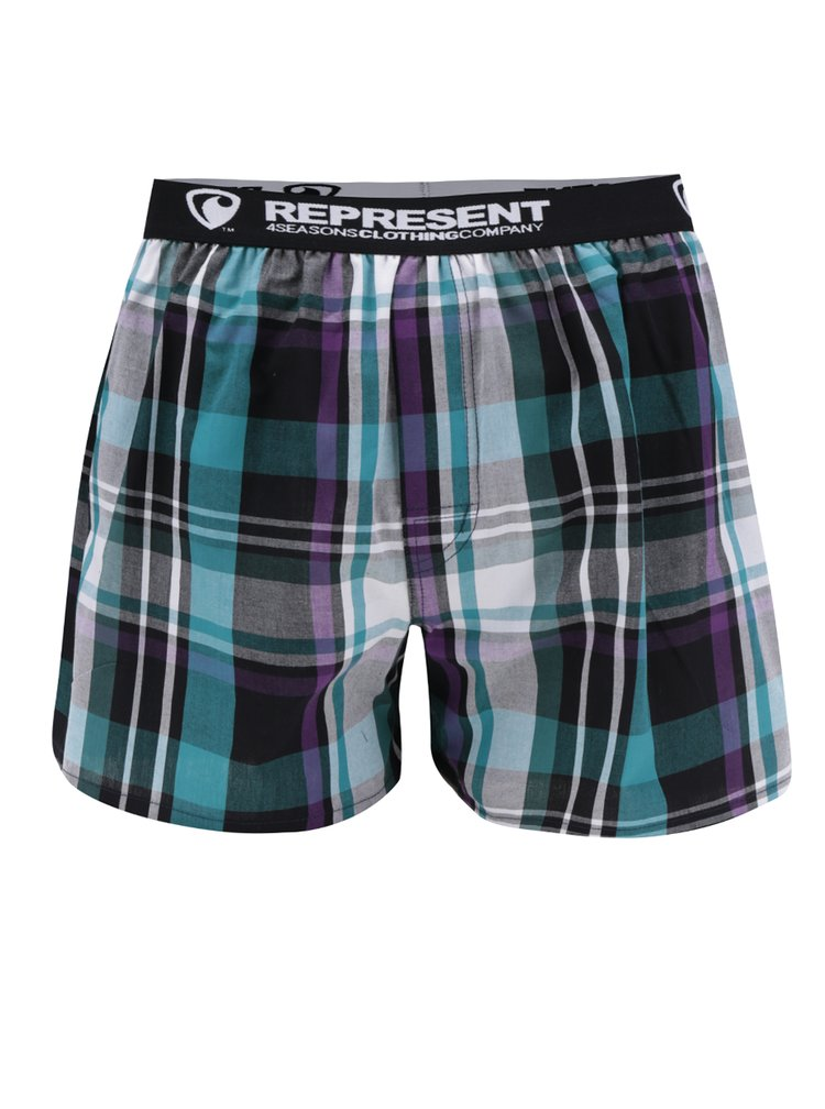 Zeleno-černé kostkované trenýrky Represent Mikebox