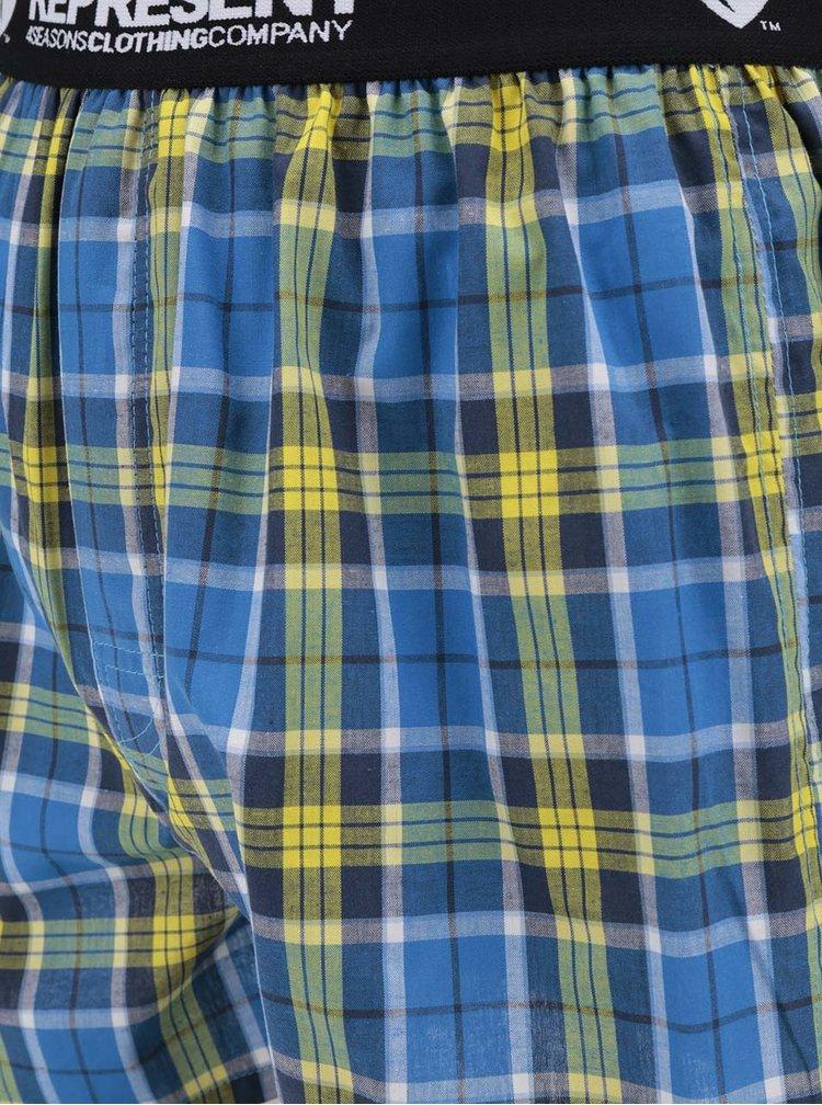 Boxeri albastri&galbeni Represent Mikebox cu model in carouri si banda elastica