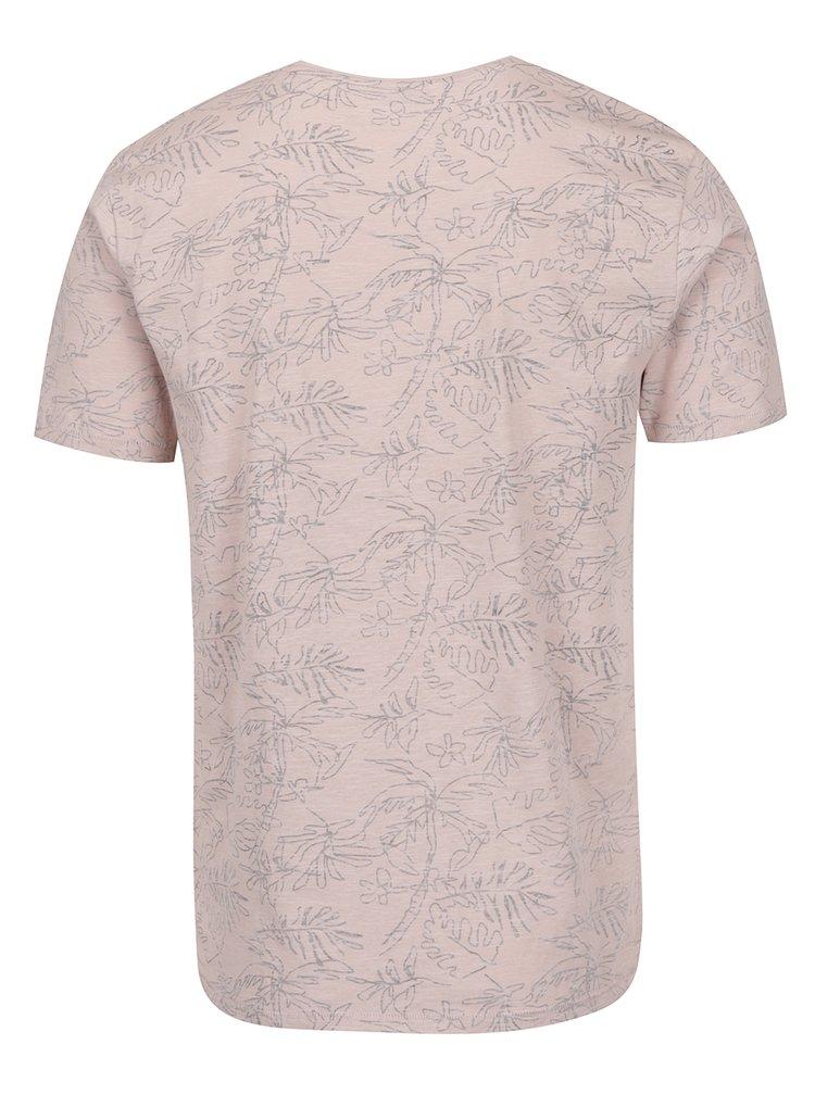 Starorůžové vzorované triko ONLY & SONS Silas