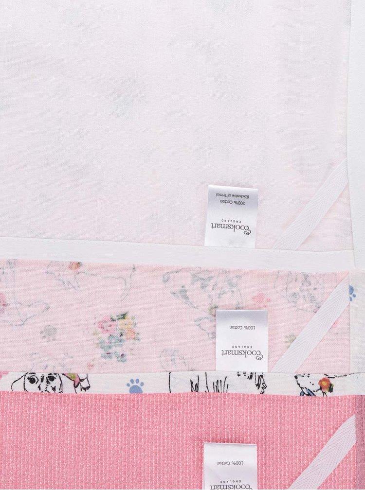 Set alb&roz Cooksmart cu 3 prosoape de bucatarie din bumbac