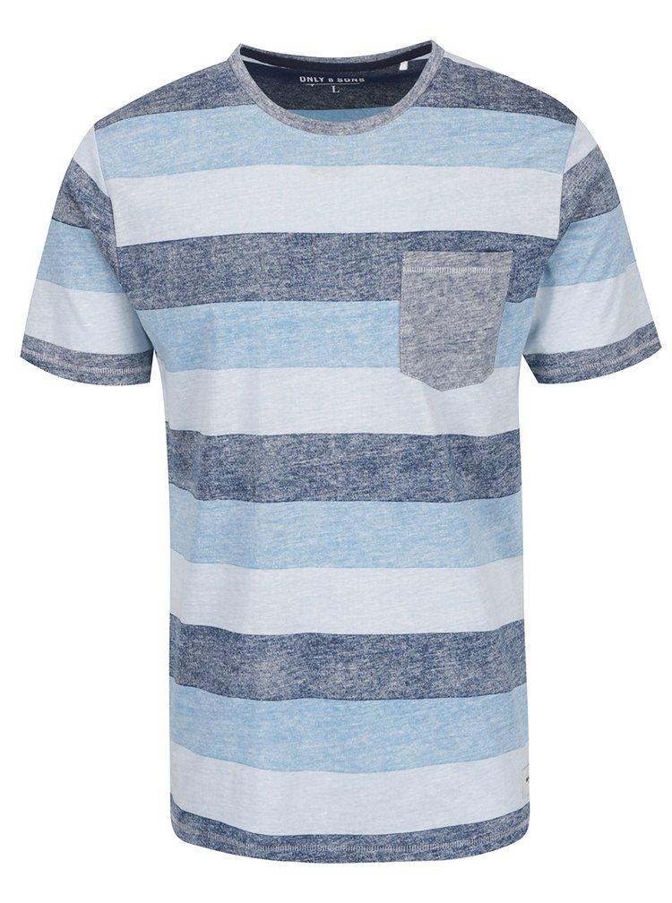 Modré pruhované žíhané triko s kapsou ONLY & SONS Stanly