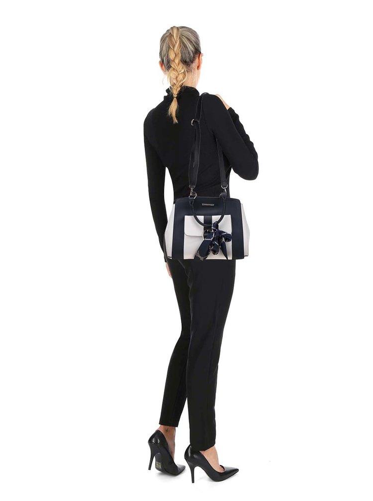 Geantă albastru închis&crem Dorothy Perkins accesorizată cu eșarfă