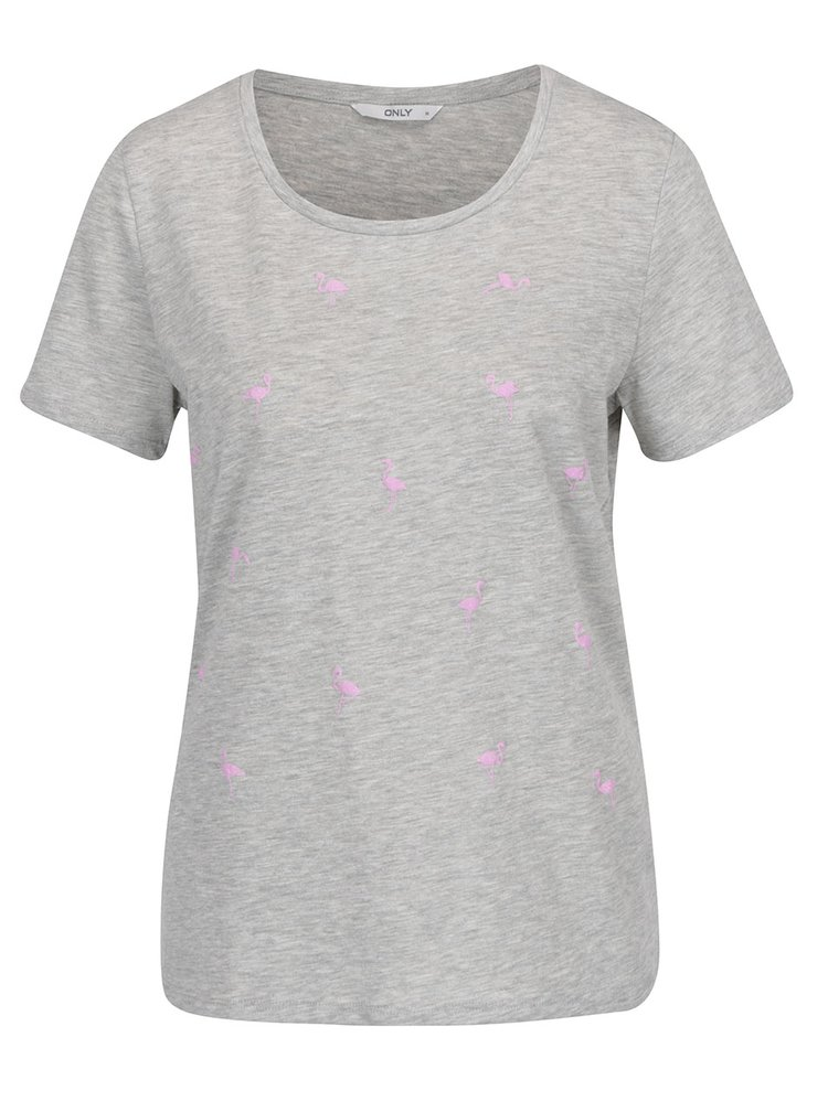 Světle šedé tričko s potiskem plameňáků ONLY Puff
