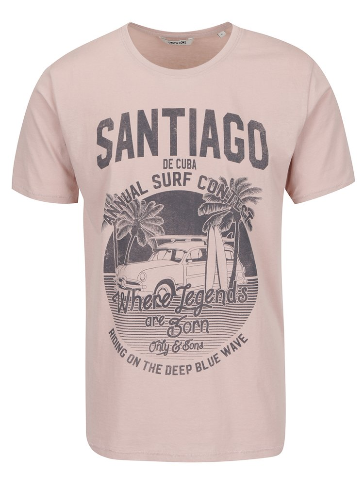 Tricou roz pudrat ONLY & SONS Sandy cu print