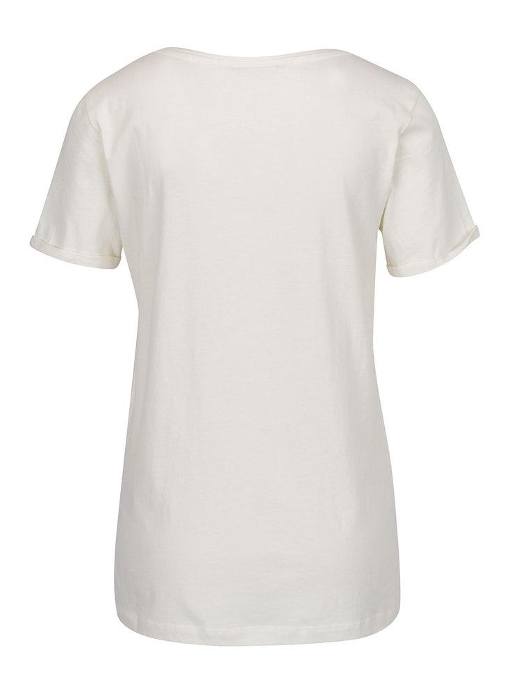 Krémové tričko s výšivkou plameňáka ONLY Tes