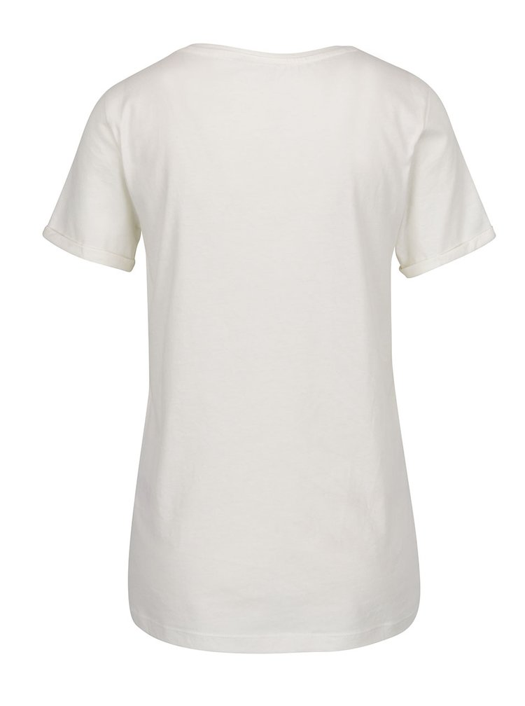 Tricou crem ONLY Tes cu broderie pe piept
