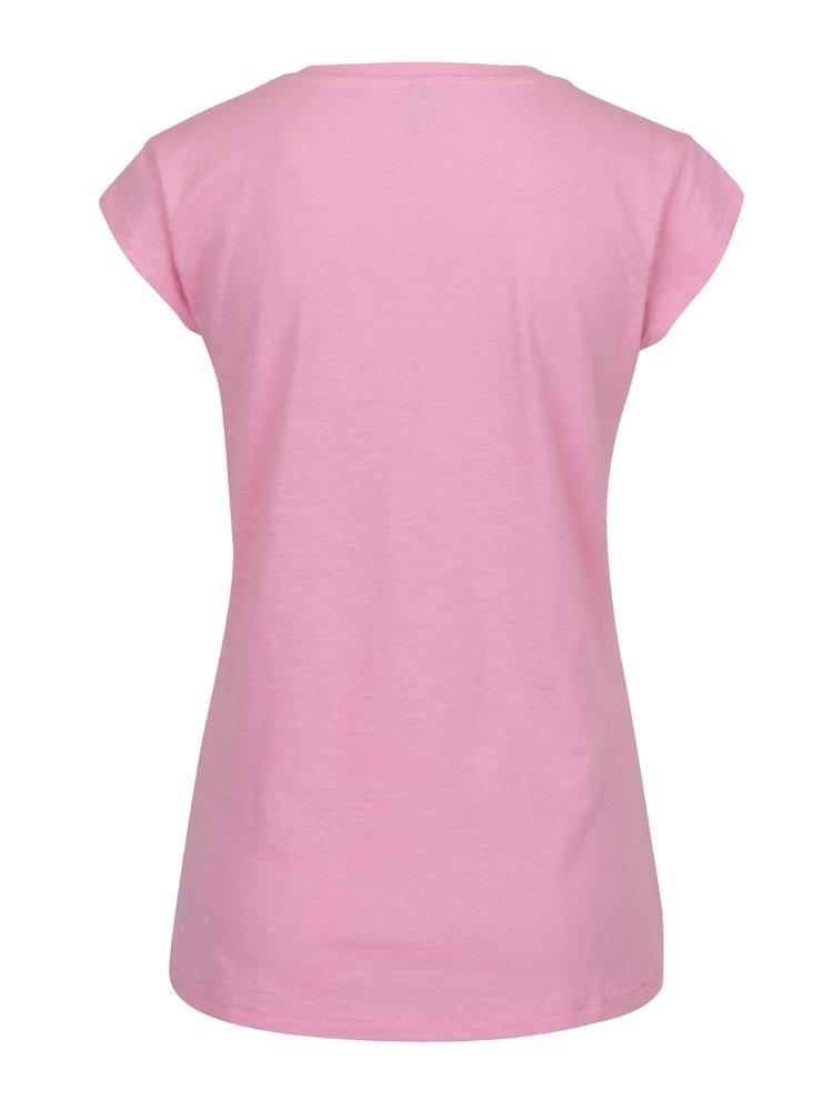 Tricou roz ONLY Bone cu imprimeu